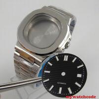 square 40mm steel solid Watch Case black dial (case+bracelet +dial) fit eta 2824
