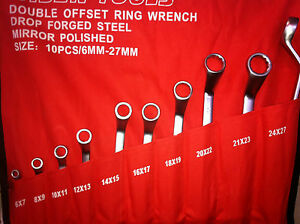 Offset Spanners. 10 Pcs Double Ring Offset Spanner Set. 6-27mm. Matt Finish