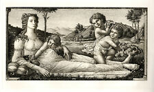 """Extraordinary BOTTICELLI 1800s Etching """"Venus in the Garden"""" SIGNED Framed COA"""