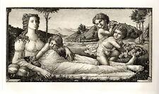 "Enchanting 1800s BOTTICELLI Etching ""Venus and Cupids"" SIGNED Framed COA"