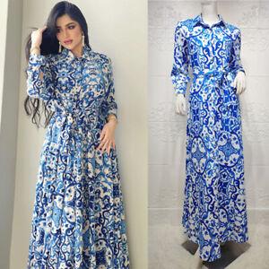 Printed Abaya Kaftan Maxi Dress Muslim Women Dubai Long Shirt Arab Robe Islamic