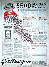 Vintage 1921 GIBBS 'Dentifrice' Toothpaste Advert - Original Dentist Print AD