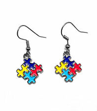 Autism Awareness Puzzle Piece Square Earrings-NEW-FREE SHIPPING