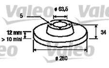 2x VALEO Rear Brake Discs Solid 280mm For FORD MONDEO JAGUAR X-TYPE 186834