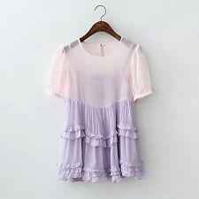 Women Lady Purple Camisole Pink short sleeves shirt tops fancy set