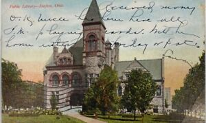 1909 Public Library Dayton Ohio Antique Postcard