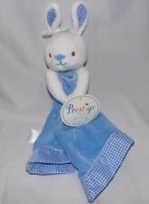 PRESTIGE BABY WHITE BUNNY BLUE VELOUR LOVEY SECURITY BLANKET FINGER PUPPET 11""