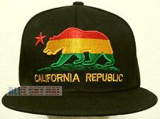 CALI CA CALIFORNIA REPUBLIC FLAG BEAR RASTA JAMAICA JAMAICAN CAP HAT SNAPBACK OS