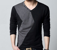 Fashion Summer Men's Casual V-Neck Cotton Tops Blouse Slim Long Sleeve T-Shirt