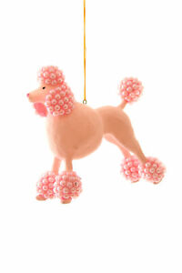 """Cody Foster Pink Beaded French Poodle Dog 4.5"""" Christmas Ornament"""
