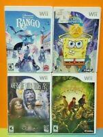 Nintendo Wii & Wii U Disney Game Lot Spiderwick Rango Spongebob Wild Things Are