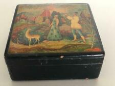 Antique Russian Black Lacquer Hand Painted Box man playing flute beautiful detai