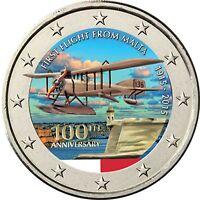 Malta 2 Euro 2015 Erster Flug Bankfrische Sondermünze in Farbe