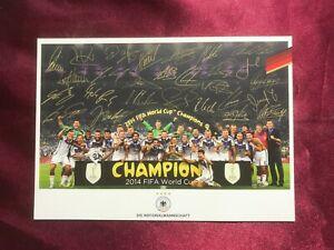 Mannschaftskarte DEUTSCHE NATIONALMANNSCHAFT-DFB-Weltmeister 2014-drucksginiert
