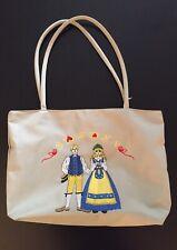 Vintage Sweden Grey Nylon Shoulder Handbag Purse Beach Bag