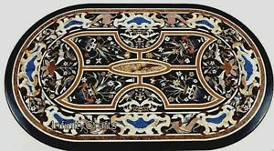 24 Inches Marble Coffee Table Top Inlay Floral Pattern Sofa table for Home Decor