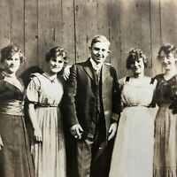 VTG RPPC Postcard Real Photo Family Picture Family Man Daughters Wife c.1915-20