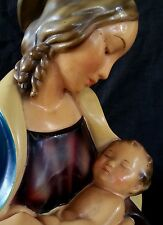 Spectacular vintage Madonna & child large ceramic bust 1930's, 12.5 inches