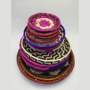 ORGANIC HAND MADE WOVEN NATURAL ART DECO WALL MOUNTAING BASKET  SET FREE POSTAGE