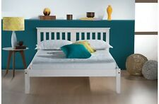 Rustic Waxed Pine Shaker Style Bed 3FT 4FT 4FT6 in White or Classic Pine
