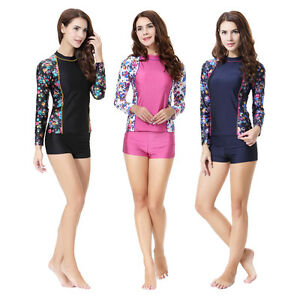 2Pcs Women Floral Swimwear Long Sleeve Top+short Swimming Beachwear Swimsuit Set