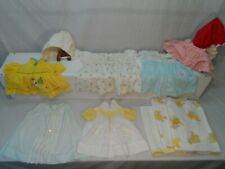 5~Vintage Baby Dresses ~ Plus 3 Baby Blankets ~ 2 Have Turtles & Rabbits+2Bonnet
