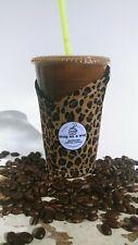 Snug as a mug.Handmade Coffee Cozy.Coffee Sleeve.Reusable. Small Cheetah Wild
