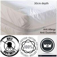 Anti Allergy 100% Cotton Fully Enclosed Zipped Mattress Protectors