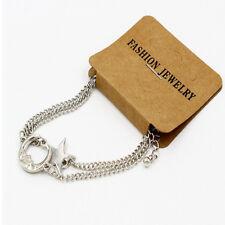 2pcs Unique Unisex Moon Star Charm Gold Chain Bracelet Best Friend Sister Gift D Silver