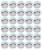 30 BABY SHOWER TWINS Edible Cupcake Toppers Wafer Paper Cake Party Decoration