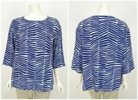 Womens Marimekko Lastut Top Blouse Shirt 3/4 Sleeve Viskose Blue Size 42 / UK14
