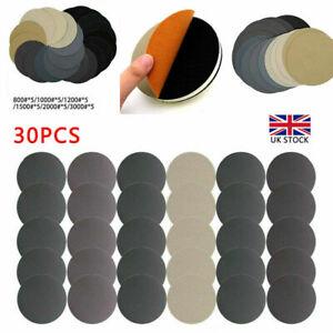 30Pcs 125mm Wet and Dry Sanding Discs 5 Inch Hook & Loop Sandpaper 800-3000 Grit