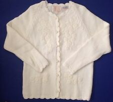 Vtg Carol Brent Montgomery Ward White Floral Cardigan Sweater Japan sz 10/40 M/L
