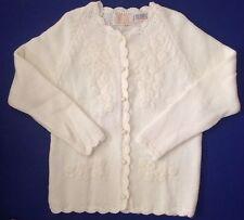 Vtg Carol Brent Montgomery Ward White Floral Cardigan Sweater Japan sz 10/40 M/L