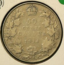 1914 Canada 50 Cents Silver 92.5% #7988