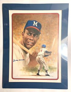 """Hank Aaron Autographed Lithograph Rudy Garcia 14""""x19"""" Hand Signed Autograph /500"""