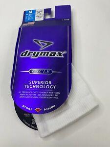 Drymax Womens Cycling White 1/4 Crew Socks Size Medium 7.5-9.5 New USA Made