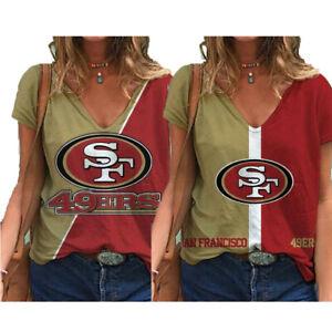 San Francisco 49ers Women's Short Sleeve T Shirt Casual Loose V-Neck Blouse Tops