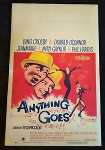 """Anything Goes 1956 Vintage Window Card (14"""" x 22"""") Bing Crosby Donald O'Connor"""