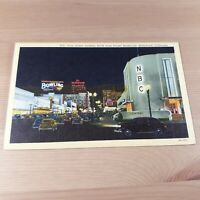 Vine Street Sunset Blvd Art Deco Hollywood CA California Linen Postcard Signage