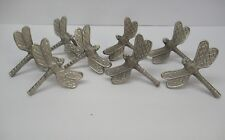 Set 8 Dragonfly Napkin Holders Rings Metal Country Spring Summer Picnic Garden