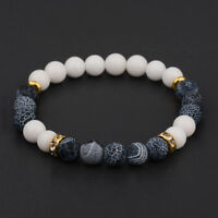 Charm Natural Lava Stone Gemstone Beads Buddha Head Lion's Head Men's Bracelets