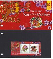 Isla de Man 2016 Año Del Mono Paquete de la Presentación