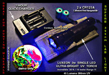 Ultrafire 395nm 3w Dark Field UV LED Mineral & Medical Light w/2xCR123A+chgr+Cs