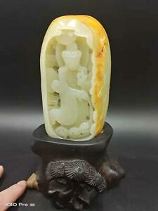 Hetian Jade Handcarved Masterpiece~Detailed ~ Nephrite Blessing KuanYin Carving