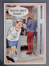 R&L Modern Postcard: French Comic, Semi-Nude Lady in Telephone Box