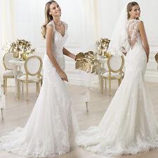 Mermaid Wedding Dresses 2015 Hot Sell Plus Size White Lace V Neck Fishtail