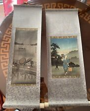 New listing Two Antique Japanese Hanging scroll Paintings. Utagawa Hiroshige
