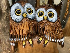 OWL COUPLE Chainsaw Carving CHERRY Wooden OWL Pair ORIGINAL Folk Artwork UNIQUE!