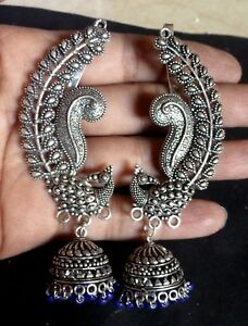 Antique Silver Plated Blue Bead Full Ear Earrings Jhumka Western Party Set